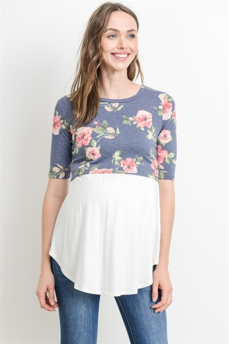 Picture of Navy Floral Nursing Top