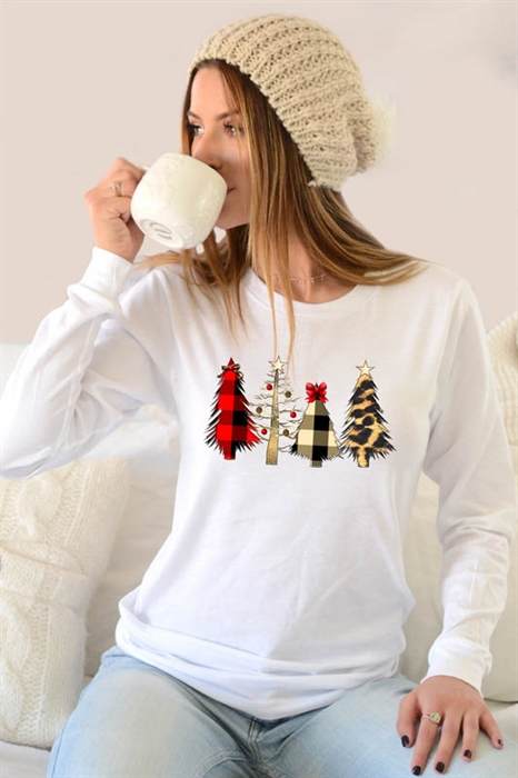 Picture of Plaid Cheetah Christmas Trees LS Graphic Tee