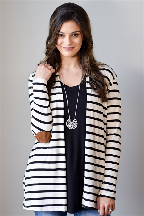 Picture of Striped Elbow Patch Cardigan 🇺🇸