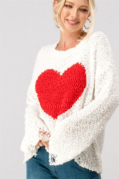 Picture of One True Love Distressed Popcorn Sweater