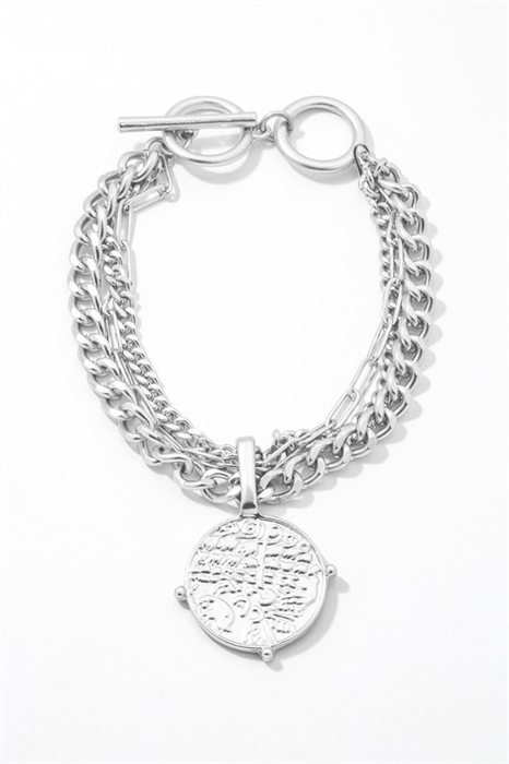 Picture of Coin Charm Chain Link Bracelet
