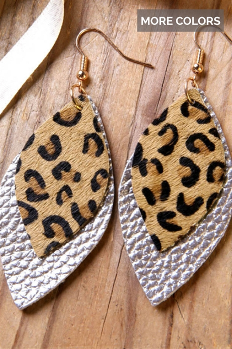 Picture of Faux Leather Leopard Earrings