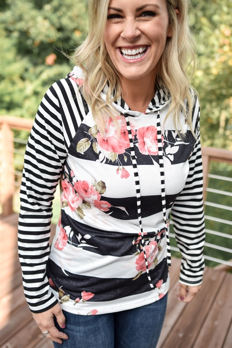 Picture of Everly Floral Striped Hoodie