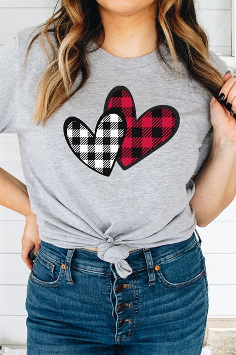 Picture of Plaid Hearts Graphic Tee