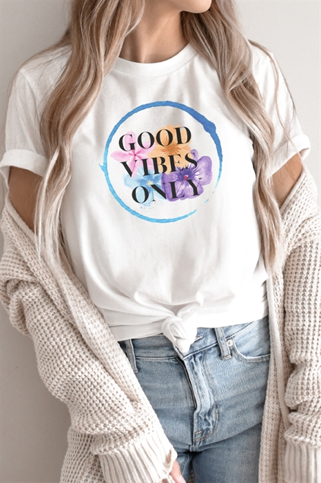 Picture of Floral Good Vibes Only Graphic Tee