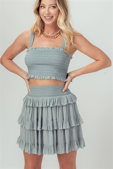 Picture of Smocked Ruffled Skirt & Crop Top Set